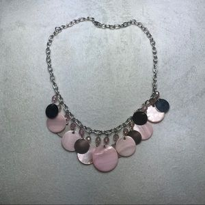 Pink and silver charmed necklace